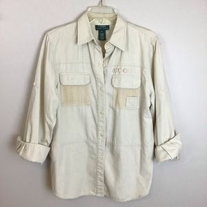 Ralph Lauren cream safari L/S shirt in Medium.
